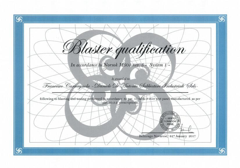 NORSOK M501 certificazione blaster qualification