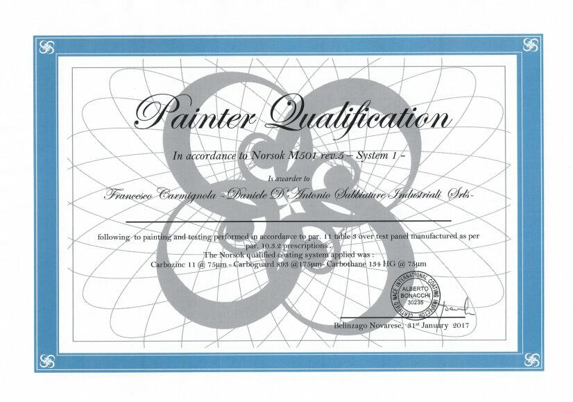 NORSOK M501 certificazione applicatore qualificato