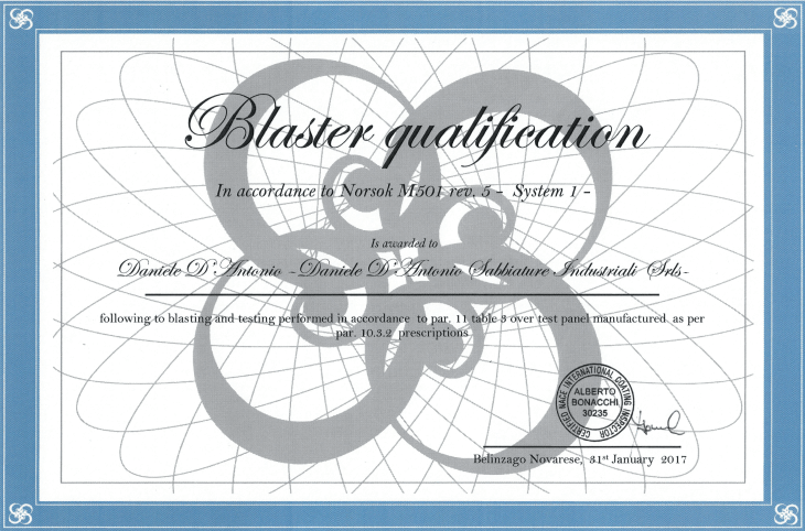 NORSOK M501 certificazione blaster qualification D'Antonio