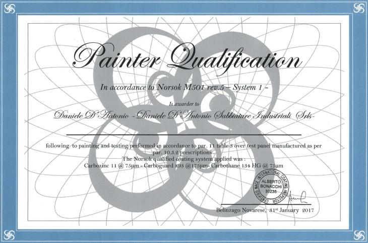 NORSOK M501 certificazione applicatore qualificato D'Antonio